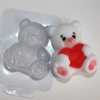 Мишка с сердцем ЕХ, 1 шт, форма пластиковая
