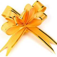 Бант-бабочка 15*300, желтый с полосой