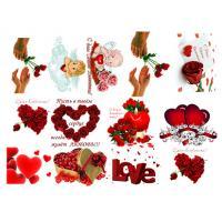 Картинки на водорастворимой бумаге 14 февраля №2 (сердечки), 1лист