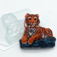 Тигр лежит на камнях, 1 шт, форма для мыла