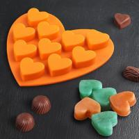 Сердечки 10 шт на листе, силиконовая форма