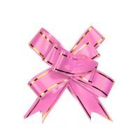 Бант-бабочка 12*250, розовый с полосой