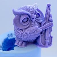 Сова со скрипкой 3D,форма силиконовая