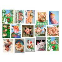 Картинки на водорастворимой бумаге Хрюшки (открытки), 1 лист