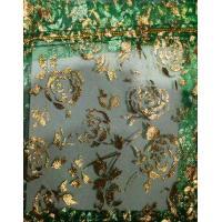 Сумочка органза 10*12 см Зеленые розы