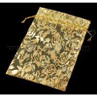 Сумочка органза 10*12 см Золотые розы