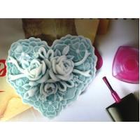 Сердце ажурное с розами 2D, форма силиконовая
