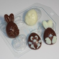 Кролик и цыпленок мультяшные (4 мини) ЕХ, 1шт, форма пластиковая